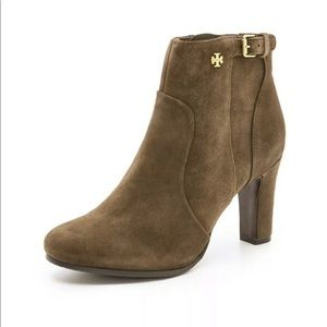 Tory Burch Milan suede ankle booties olive/brown 9